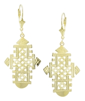 Alitash 18k Gold Ethiopian Cross Earrings in 18k yellow gold