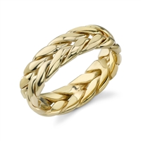 Achho Woven Wedding Band in 14k yellow gold