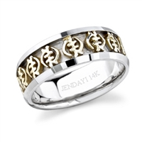 Gye Nyame Two Toned Eternity Band in 14k white and yellow gold