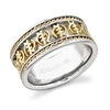 Braided Gye Nyame Eternity Band in 14k white and yellow gold