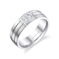 Senchi I Gye Nyame 14k White Gold Wedding Band