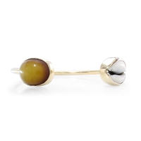 Cowry Shell & Amber Bangle in 14k yellow gold