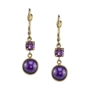 Divine Sugilite & Amethyst Dangle in 14k yellow gold