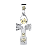 Take Wings Nnergy Two Toned Ankh Angel Pendant in 14k