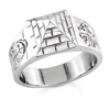 Nubian Pyramid Ring in 18k white gold