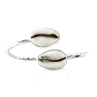 Cowry Shell Twisted Wire Wrap Bangle with sterling silver