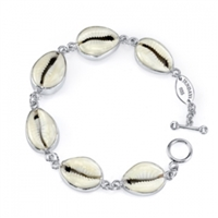White Cowry Shell Sterling Silver Link Bracelet