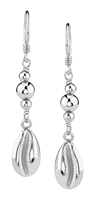 Jacqueline Silver Cowry Shell Dangles Medium