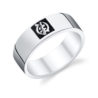 Gye Nyame Embossed Band in sterling silver