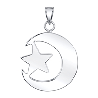 Star & Cresent Pendant 40 mm in sterling silver