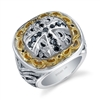 Satori Mens Ring in sterling silver & 14k gold