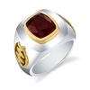 Sule Gye Nyame Mens Ring in sterling silver & 14k gold