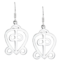 The Power of  Love Dangle Earrings 40mm in Sterling Silver