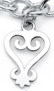 Sankofa Heart Charm in sterling silver