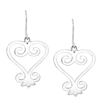 Sankofa Heart Dangle Earrings 40mm in Sterling Silver