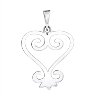 Sankofa Heart Pendant 40mm in sterling silver
