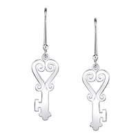 Key of Sankofa Earrings in sterling silver
