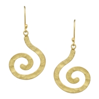Ahuru Brushed Spiral Dangles in sterling silver dipped in yellow gold