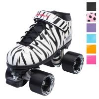 Dart Speed Roller Skates in Pink, Orange, Purple, Aqua, Polka Dot, Zebra Stripes, and Black