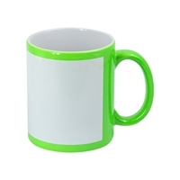 11 oz. Green Flourescent Mug w/White Patch