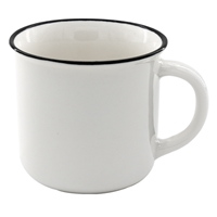 13 oz. Ceramic Camper Mug - White with Black Lip