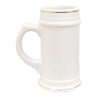 White Beer Stein - 22oz - Gold Rim