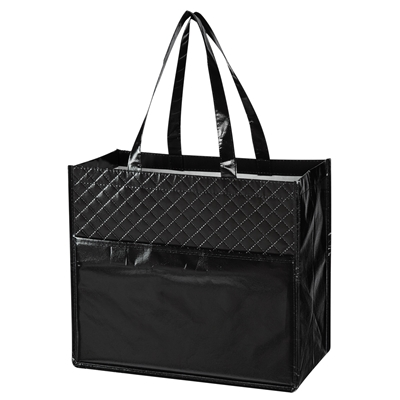 Quilted Laminated Diamond Tote Bag