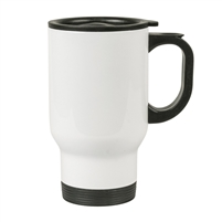 14 oz. Stainless Steel Travel Mug - White