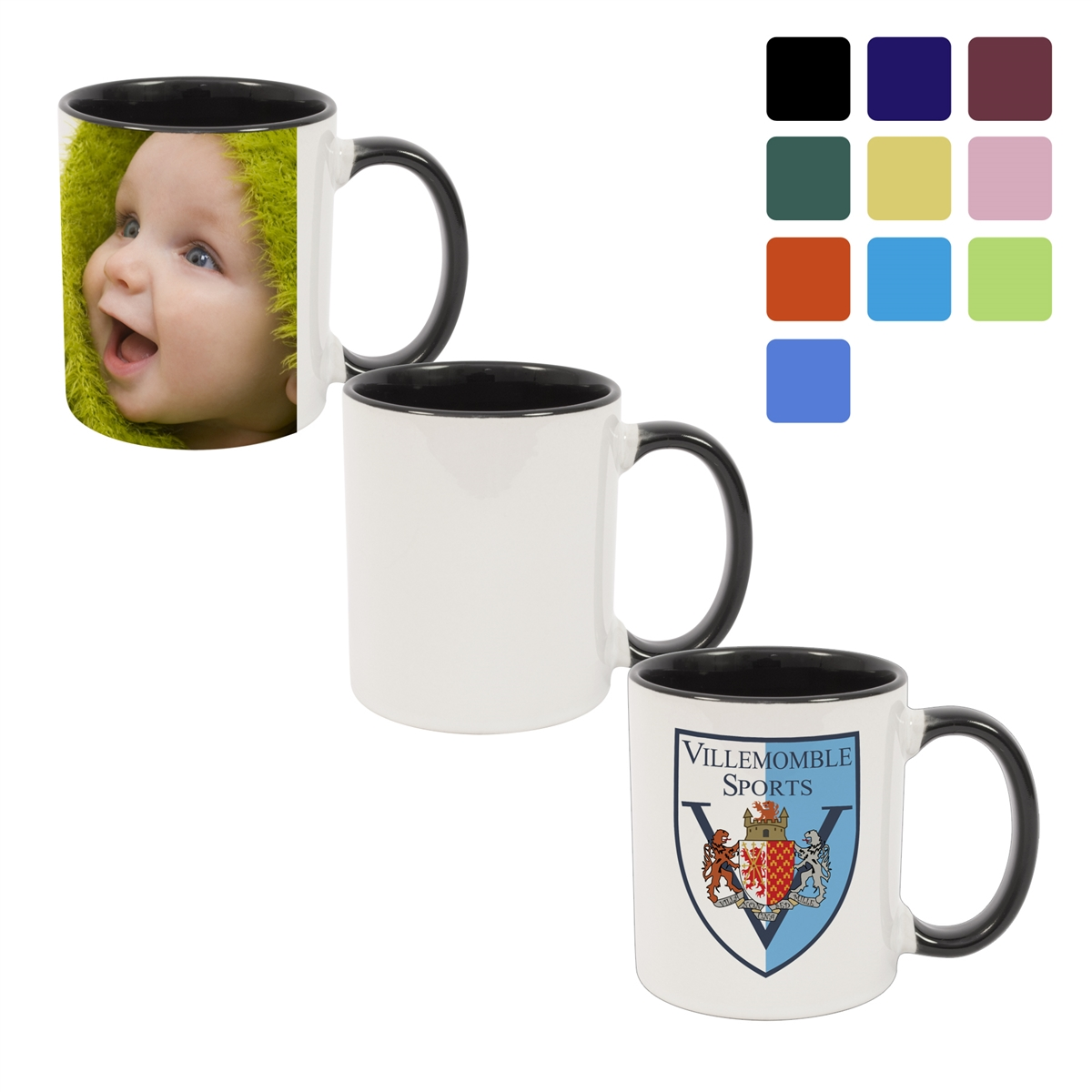 11oz color mug inner handle custom printing