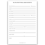 Funeral Arrangement Form