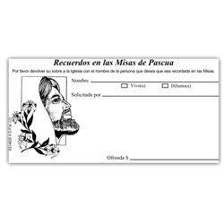 Spanish Easter Mass Remembrance offering Envelope