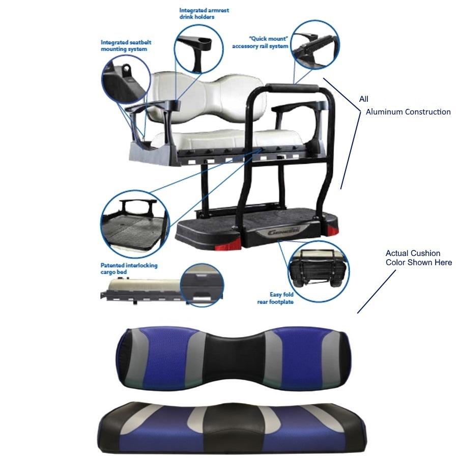 Madjax E Z GO TXT Genesis 300 Tsunami Rear Seat Kit   Tsunami Blk/Blue