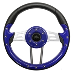 "13"" Aviator 4 Blue / Aluminum Steering Wheel"