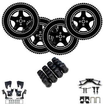 "Club Car Precedent 14"" Aluminum Wheels with Tires & Lift Kit"