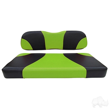 Black / Green 2 Tone Seat Cushion Set for Club Car DS
