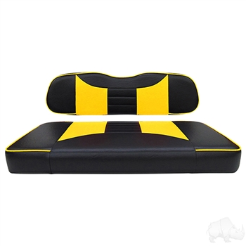Black / Yellow 2 Tone Seat Cushion Set for Club Car DS