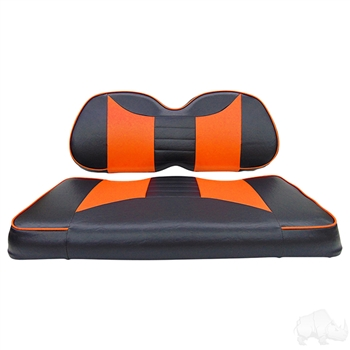 Black / Orange 2 Tone Seat Covers for Club Car Precedent