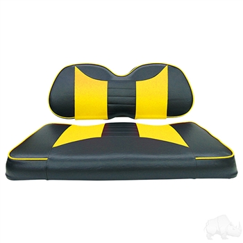 Black / Yellow 2 Tone Seat Covers for Club Car Precedent