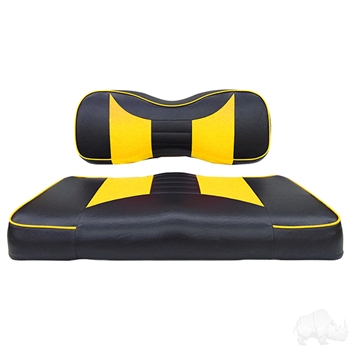 Black / Yellow 2 Tone Seat Cushion Set for Yamaha DRIVE2