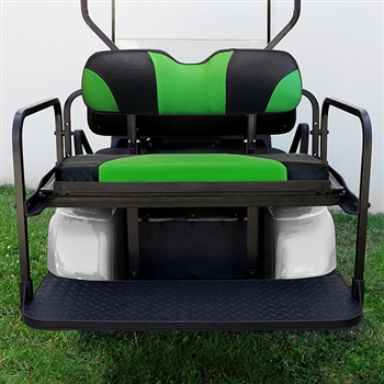 Aluminum Rear Seat Kit with Bright Green Cushions for EZ GO TXT