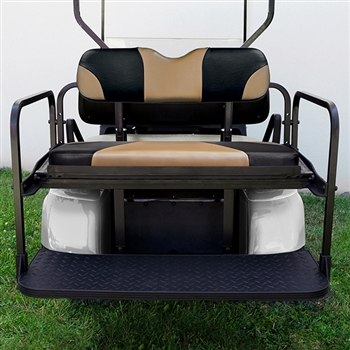 Aluminum Rear Seat Kit with Tan Cushions for EZ GO TXT