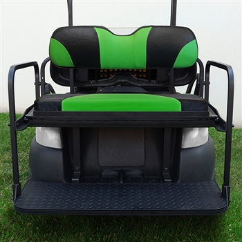 Aluminum Rear Seat Kit with Lime Green Cushions for Club Car Precedent
