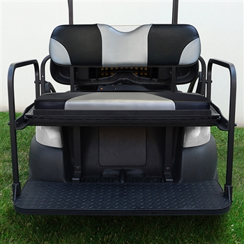 Aluminum Rear Seat Kit with Silver Cushions for Club Car Precedent
