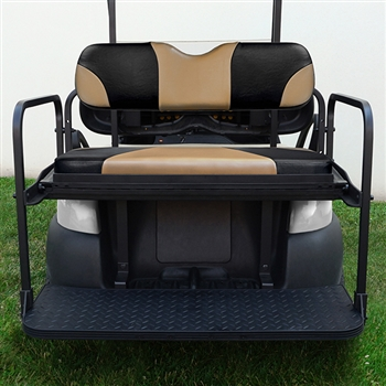 Aluminum Rear Seat Kit with Tan Cushions for Club Car Precedent
