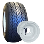White Stock Style / Size Golf Cart Wheel / Tire