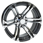 "RHOX AC568 Machined & Black 15"" Aluminum Golf Cart Wheel"