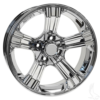"Gloss Chrome Aluminum 15"" Golf Cart Wheels AR658"