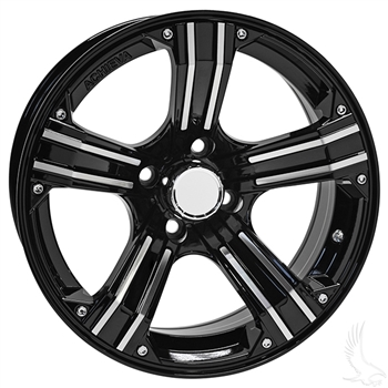 "Gloss Black & Machined 15"" Golf Cart Wheels AR658"