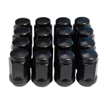 "Flat Black Acorn 1/2"" - 20 Lug Nut Set of 16"