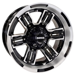 RHOX RX286 Mach / Gloss Black 12X7 Offset Aluminum Wheel